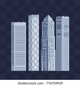Modern buildings skyscrapers set. 8-bit. Pixel art style. Isolated abstract vector illustrations.