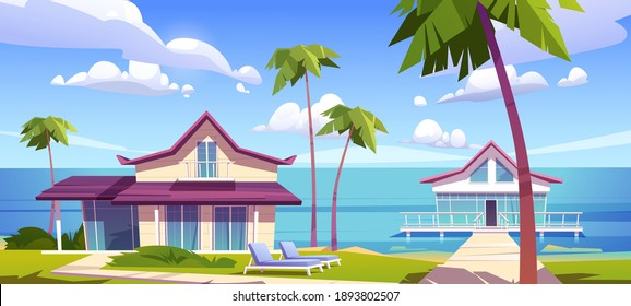 Modern bungalows on island resort beach, tropical summer landscape with houses on piles with terrace, palm trees and ocean view. Wooden private villas, hotel or cottages, Cartoon vector illustration