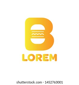 Modern burger logo typography b character