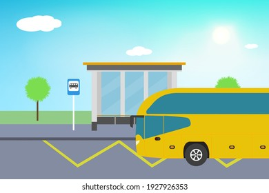 Modern bus on the bus stop. Sunny weather with clouds. Bus stop sign, trash can, trees, yellow line zigzag. Flat design. Stock vector illustration.