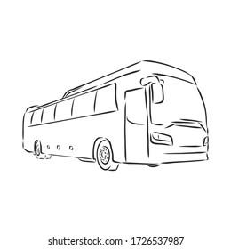 modern bus symbol, outlined vector icon. bus vector sketch illustration