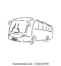 modern bus symbol, outlined vector icon. bus vector sketch illustration