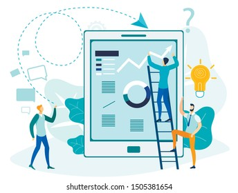 Modern Business Analytics Flat Vector Illustration. Businessmen, Analysts Team Cartoon Characters. Colleagues Studying Charts, Stock Market Statistics. E business, Financial Analysis Metaphor