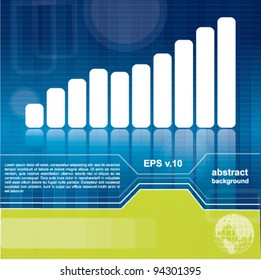Modern business background or brochure cover design with diagram, blue and green colors