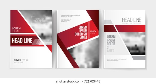 Modern business brochure, banner, page, leaflet, flyer, magazine, cover book template. Abstract red background lines, geometrical forms. Cover presentation, layout in A4. Page. Vector set