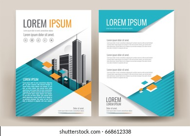 Modern business brochure layout, flyers design template, magazine, poster, annual report, or book & booklet cover, with orange teal geometric, and cityscape vector in background elements, in size a4.