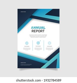 Modern business brochure template annual report with abstract blue shapes. - Vector.