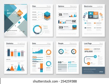 Modern business brochures and infographic vector elements. Illustrations of modern info graphics. Use in website, flyer, corporate report, presentation, advertising, marketing etc.