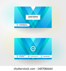 modern business card with abstract blue background 4