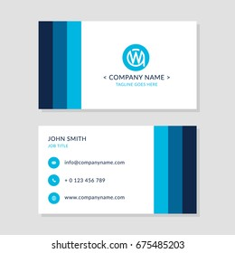 Modern Business Card Blue colors Set. EPS10 Vector Flat Design. Creative Company Logo Initial Letters WA or AW.