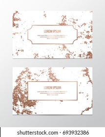 Modern business card with copper abstract texture.