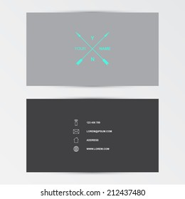 Modern business card with crossed arrows, flat design