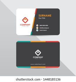 Modern business card design template. Tosca and orange color element clean composition.