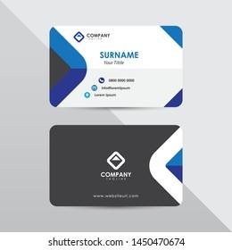 Modern business card design template. Blue color element rounded arrow, clean composition design.