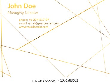 Modern business card with geometrical golden metallic frame pattern. White chic gold geometric wireframe layout and text. Art deco polygonal modern graphic design. Vector illustration