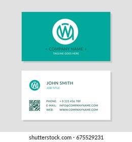 Modern Business Card Green colors Set. Creative Company Logo Initial Letters WA or AW. Second Sides of Cards with qr-code.