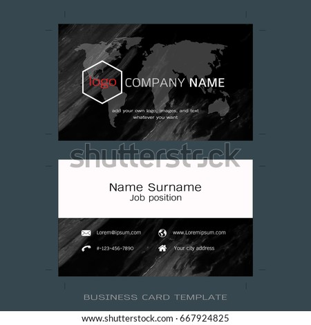 Modern business card layout templates world stock vector royalty modern business card layout templates world map and marble texture background easy to use accmission Gallery