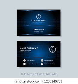Modern business card template blue colors. Flat design vector abstract creative geometric background.