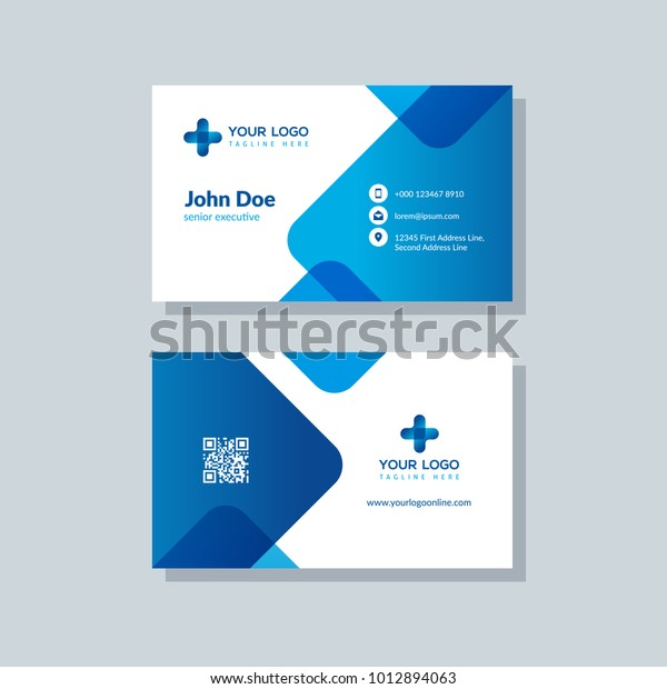 Business Card Design 2020.Modern Business Card Template Blue Colors Stock Vector