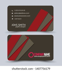 Modern business card template.  Brown and red vector.