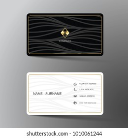 Modern business card template design. With inspiration from the abstract. Contact for company. Two sided black and white on the gray background. Vector illustration.