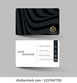 Modern business card template design. With inspiration from the abstract.Contact card for company. Two sided black and white . Vector illustration. Flat design.