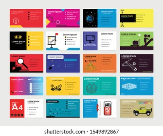 Modern business card template design. Contact card for company.  Vector illustration. (clean, color, modern)  Set of 20 business card. Set 3