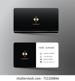 Modern business card template design. With inspiration from the abstract.Contact card for company. Two sided. Vector illustration. Flat design.