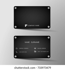 Modern business card template design. With inspiration from the iron plate.Contact card for company. Two sided black. Vector illustration. Flat design.