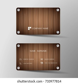 Modern business card template design. With inspiration from the wood board.Contact card for company. Two sided. Vector illustration. Flat design.