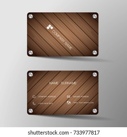 Modern business card template design. With inspiration from the wood board.Contact card for company. Two sided black. Vector illustration. Flat design.