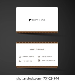 Modern business card template design. With inspiration from Leatherette. Contact card for company. Two sided. Vector illustration. Flat design.