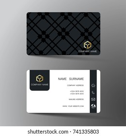Modern business card template design. With inspiration from the abstract.Contact card for company. Two sided black and white . Vector illustration.