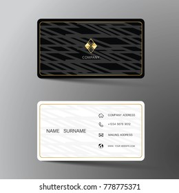 Modern business card template design. With inspiration from the abstract. Contact card for company. Two sided black and white on the gray background. Vector illustration.