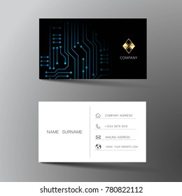 Modern business card template design. With inspiration from abstract digital circuit. Contact card for company. Two sided black and white on the gray background. Vector illustration.