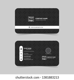 Modern business card template design.Contact card for company. Two sided black and white . Vector illustration. - Vector