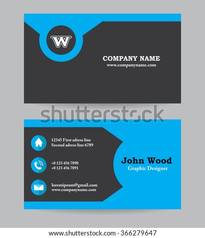 modern business card template in flat design abstract light background personal plain business card