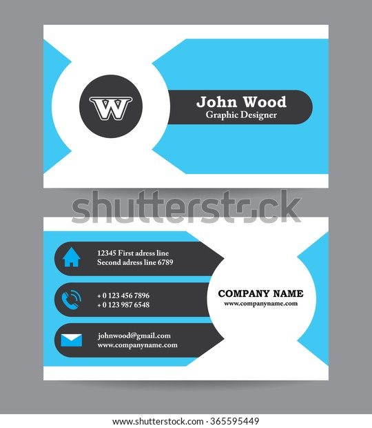 Moderne Visitenkarten Vorlage Im Flachen Design Abstrakter