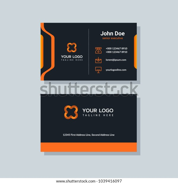 Modern business card template orange colors. Flat design vector abstract creative geometric background.