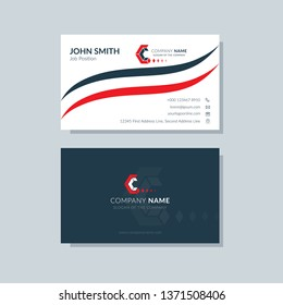 Modern business card template red colors. Flat design, vector abstract creative geometric background.