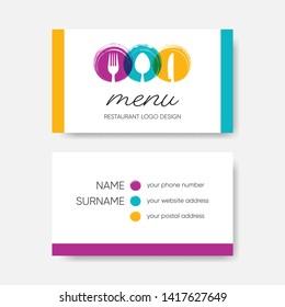 Modern business card template vector restaurant menu design