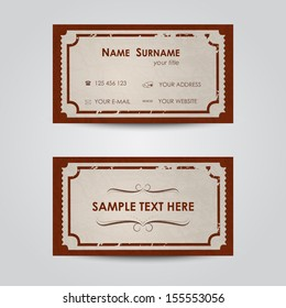 Modern business card template - vintage ticket theme