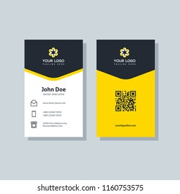 Modern business card template yellow colors. Flat design vector abstract creative geometric background.