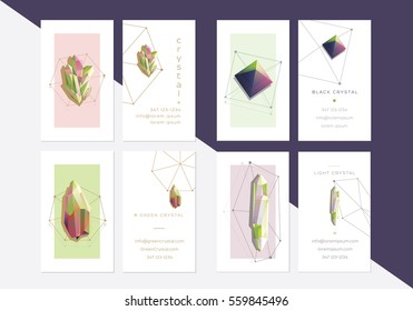 Modern business card templates collection with trendy geometric polygonal colorful crystal shapes in bright color combinations