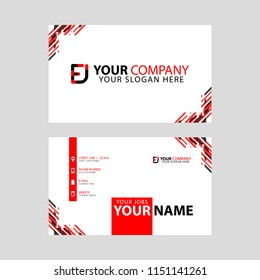 Modern business card templates, with FJ logo Letter and horizontal design and red and black colors.