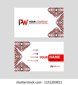Modern business card templates, with PW logo Letter and horizontal design and red and black colors.