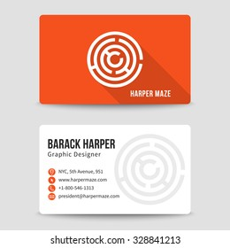 Modern business card vector template with maze logo. Address and phone number, website and email, art symbol illustration