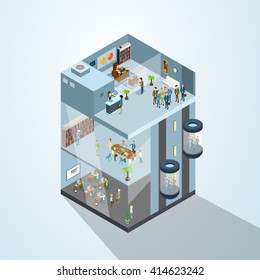 Modern Business Center Office Building Businesspeople Working Interior 3d Isometric Vector Illustration