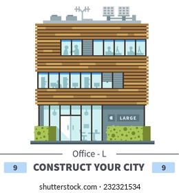 Modern business center. Shops and cafes. Set of elements for the construction of urban landscapes. Vector flat illustration