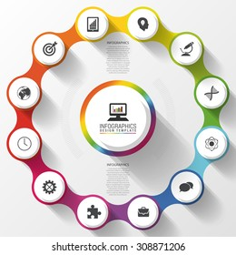 Modern business circle colorful design. Options banner. Infographics. 12 twelve components. Vector illustration